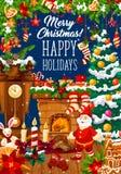 Kort för julspishälsning med jultomtengåvan stock illustrationer