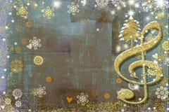Kort för julTid musikal Royaltyfria Bilder
