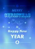 Kort för jultypografihälsning Glad jul och lyckligt nytt år Royaltyfri Bild
