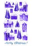 Kort för julvattenfärghälsning med hus och träd Fotografering för Bildbyråer