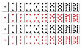 Kort för lek från en till tio Spadar, diamanten, hjärta och klubbor formar stock illustrationer