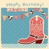 Kort för lycklig födelsedag för cowboy med cowboyskon Vektorbarnkort royaltyfri illustrationer