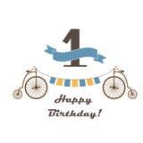 Kort för lycklig födelsedag för den 1st födelsedagen Fotografering för Bildbyråer