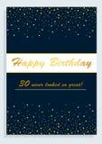 Kort för lycklig födelsedag, för den 30th födelsedagen Royaltyfria Foton