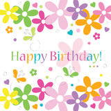 Kort för lycklig födelsedag för för hjärtablommor och fjärilar Royaltyfria Foton