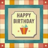 Kort för lycklig födelsedag för tappning retro Arkivfoto
