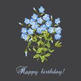 Kort för lycklig födelsedag för vattenfärg Vektor Illustrationer