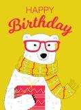 Kort för lycklig födelsedag med björnen Arkivfoto
