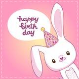 Kort för lycklig födelsedag med en kanin Royaltyfria Bilder