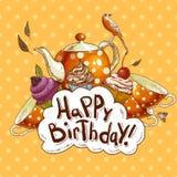 Kort för lycklig födelsedag med en muffin och en kruka Royaltyfri Fotografi