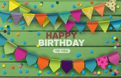 Kort för lycklig födelsedag med färgrika pappers- girlander och konfettier