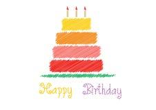 Kort för lycklig födelsedag med födelsedagkakan, vektorillustrationer Royaltyfria Foton