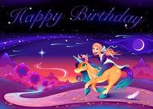Kort för lycklig födelsedag med flickan som rider enhörningen arkivfoton