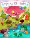 Kort för lycklig födelsedag med gulliga djur i bygden stock illustrationer