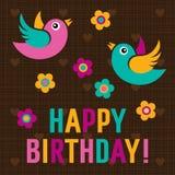 Kort för lycklig födelsedag med gulliga fåglar Royaltyfri Bild