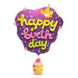 Kort för lycklig födelsedag med hallonmuffin. Arkivfoto