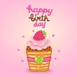 Kort för lycklig födelsedag med hallonmuffin. Arkivfoton