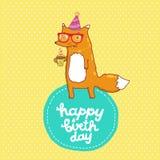 Kort för lycklig födelsedag med hipsterräven Arkivbild