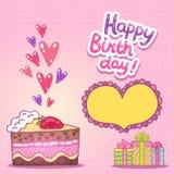 Kort för lycklig födelsedag med jordgubbekakan Arkivbilder