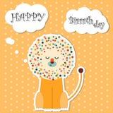 Kort för lycklig födelsedag med lejonet Arkivbilder