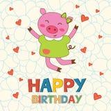 Kort för lycklig födelsedag med lycklig svinbanhoppning Royaltyfri Bild