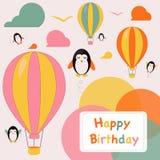 Kort för lycklig födelsedag med pingvin Arkivbilder