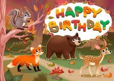 Kort för lycklig födelsedag med wood djur royaltyfri illustrationer