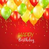 Kort för lycklig födelsedag och för partiballonginbjudan vektor illustrationer