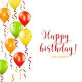Kort för lycklig födelsedag och för partiballonginbjudan royaltyfri illustrationer