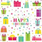 Kort för lycklig födelsedag och partiinbjudan vektor illustrationer