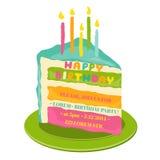 Kort för lycklig födelsedag och partiinbjudan stock illustrationer