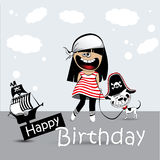 Kort för lycklig födelsedag som ett barn med en leksakhund piratkopierar stock illustrationer