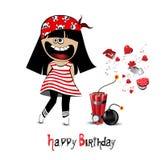 Kort för lycklig födelsedag som ett barn piratkopierar royaltyfri illustrationer