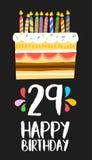 Kort för lycklig födelsedag 29 tjugonio årskaka Royaltyfri Bild