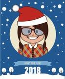 Kort för lyckligt nytt år 2018 Hälsningkort med den Santa Claus flickan Ung flicka i lock av jultomten Hälsningar för barn` s Royaltyfri Fotografi