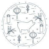 Kort för lyckligt nytt år 2019 kinesiskt nytt symbolår vektor illustrationer