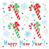 Kort för lyckligt nytt år med en stiliserad godisrotting på den vita backgrouen royaltyfri illustrationer