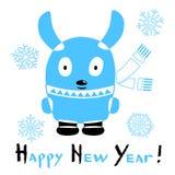 Kort för lyckligt nytt år med en stiliserad kanin på vit bakgrund stock illustrationer
