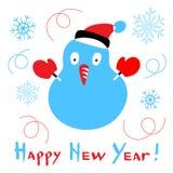 Kort för lyckligt nytt år med en stiliserad snögubbe på vit bakgrund royaltyfri illustrationer