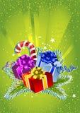 Kort för lyckligt nytt år med färgrika gåvaaskar Arkivfoto