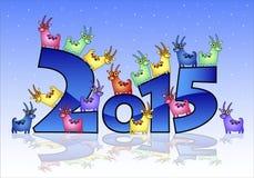 Kort för lyckligt nytt år 2015 med getter Fotografering för Bildbyråer