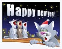 Kort för lyckligt nytt år med katter Royaltyfri Foto