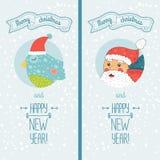 Kort för lyckligt nytt år med santa och fågeln Royaltyfria Foton