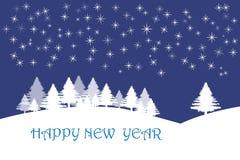 Kort för lyckligt nytt år med stjärnor i mörker - blått Royaltyfria Foton