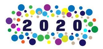 Kort 2020 för lyckligt nytt år och färgrikt raster som hälsar textdesign i kulört på vit bakgrund stock illustrationer