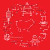 Kort för lyckligt nytt år 2019 Symboler för nytt år i Japan Galt lykta, klocka, mochi, apelsin, skattskepp Festliga traditioner a stock illustrationer