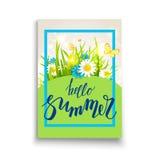 Kort för mall för sommartid stock illustrationer