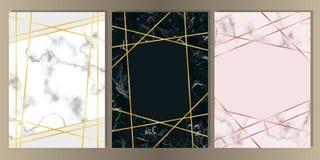 Kort för marmor A4 med den guld- linjen uppsättning stock illustrationer