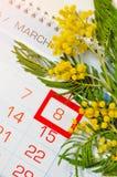 8 kort för mars - mimosablommor över kalendern med det inramade 8 datumet för mars Arkivfoto