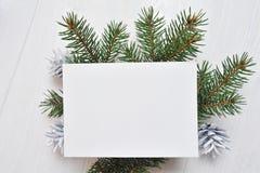 Kort för modelljulhälsning med trädet och kotte som är flatlay på en vit träbakgrund, med stället för din text royaltyfria foton